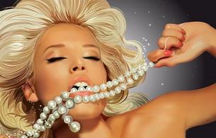 blonde, jewerly, chain