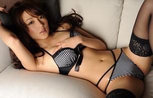 brunette, asian, lingerie, sofa