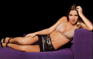 jeanette biedermann, singer, lingerie, german, sexy babe, mini, leather, heels, bra, sofa, laying