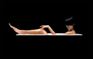 brunette, asian, bathtub, sexy babe, short hair, minimalist wall, legs, feet