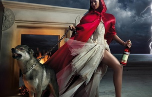 wolf, dress, red, campari, little red riding hood