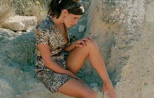 brunette, dress, outside, outdoor