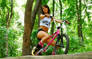 brunette, bike, shorts, tattoo, bmx, bmx bike, bmx girl