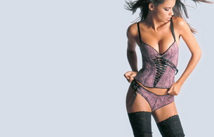 brunette, stockings, lingerie, adriana lima