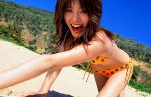 yu hasebe, asian, bikini, sand