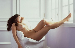 brunette, rest, nude, chair, sexy, hot, boobs, pussy, aria giovanni, naked, window, long hair, landing strip, feet, massive breasts, gorgeous, raven-haired beauty, penthouse, penthouse pet, cindy renee volk
