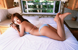asian, lingerie, smile, ass, beautiful female legs, bed, butt, sweet, legs, feet, graceful feet
