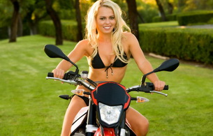 blonde, smile, lingerie, bike, sexy, boobs