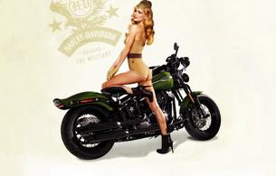 harley davidson, blonde, bike, classic, marisa miller
