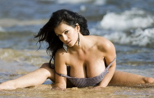 denise milani, brunette, big tits, model, beach, sand, water, heavy knockers