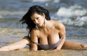 denise milani, brunette, big tits, model, beach, sand, water, heavy knockers