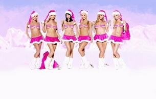 christmas, blonde, brunette, smile, lingerie, skirt, titts, group, boobs, six, blonde, lingerie