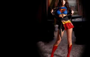 brunette, superhero, lingerie, boots, skirt, megan fox, fake, supergirl, superman, superfox, celebrity fake
