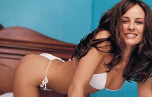 sabrina staubitz, actress, model, smile, brunette, swimsuit, bed