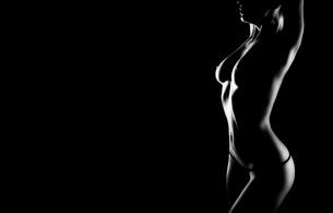 lingerie, titts, black & white