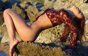 red-haired, lingerie, wet, lidiya sabadash, lidiya a