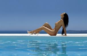 brunette, nude, titts, beautiful female legs, heels, water, boobs, pool, tits, ocean, sea, reflection, sun, outdoors, high heels, heels, feet, naked, perfect