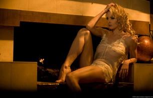 lingerie, fireplace, blonde, zdenka podkapova, sexy babe, long hair, adult model, posing, sitting, lingerie, legs, feet, c-tru, erotic, lingerie series, zdenka