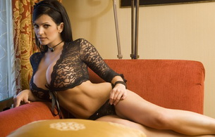 denise milani, model, brunette, lingerie, boobs