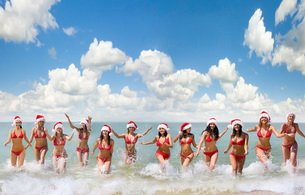 x-mas, christmas, blonde, brunette, bikini, wet, smile, group