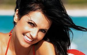 denise milani, model, smile, brunette