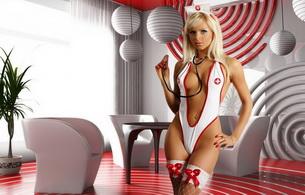 blond, lingerie, fantasy nurse, nurse, sara jean underwood, stethoscope