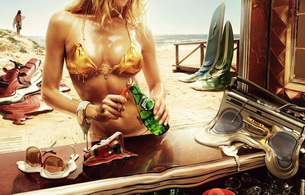 blonde, bikini, fantasy, digital art design, melting, radio, surf board, jet ski, jetski, sea doo