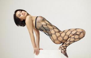 brunette, asian, titts, maria ozawa, exotic, sexy babe, long hair, posing, black, fishnet, bodystocking, erotic, legs, feet, lingerie series