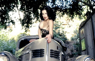 brunette, car, dita von teese, international burlesque star, dita, playmate, dancer, model, posing, lingerie, smile, delicious, sexy