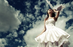 asian, dress, wings, not nude, clouds, wedding dress, bride
