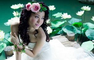 brunette, asian, flower, dress, smile, not nude
