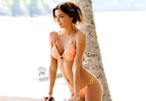 bikini, model, miranda kerr, brunette, orange bikini