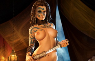 girls, sexy, age of conan, tits, knife, tatoo