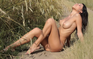 nude, brunette, titts, pussy, beautiful female legs, boobs, naked, long hair, outdoors, weeds, feet, sand, sun, hot, nipples, sabina a, sabinna, long hairs, big tits, great body, eastern european girls are the hottest