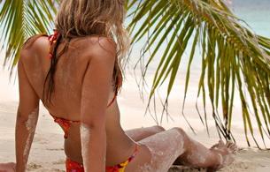 blonde, bikini, sand