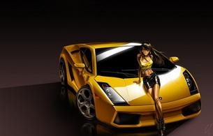 car, brunette