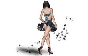 brunette, ass, lingerie, minimalist wall, minimalist wall, 3d, virtual babe
