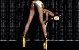 brunette, ass, lingerie, stockings, long legs, high heels, platform heels