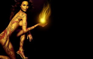 brunette, body art, fire, kneeling, high heels, sexy