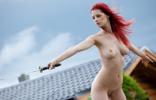 blade, red-haired, nude, titts, ariel, redhead, boobs, outdoor, trimmed, sword, ariel, ariel a, ariel piper fawn, ariel piperfawn, ariel n, gabrielle lupin