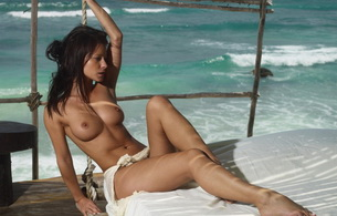nude, titts, pussy, melisa, mendini, tits, topless, ocean, sea, bed, rope, brunette, melisa mendiny