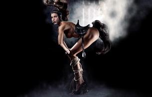 horse, fantasy, tits, smoke, ponygirl