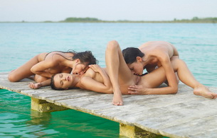lesbian, blond, threesome, sexy, nude, naked, pussy, vagina, lick, water, dock, lake, spread, feet, horny, babes