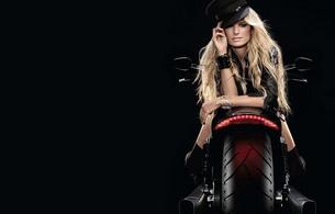 blonde, hat, bike, marisa miller