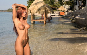 секси, ка, ashley bulgari, naked, nude, boobs, breasts, tits, nipples, pussy, long hair, redhead, tropical, beach