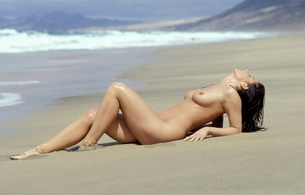 topless, sand, beach, nude, naked, brunette, titts, beautiful female legs, boobs, black hair, sea, alexandra, tits, ocean, waves, sun, wind, long hair
