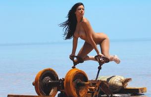 brunette, nude, titts, zahyra amat, zahyra, boobs, tits, big tits, beach, sea, tanned