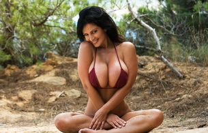 denise milani, big boobs, brunette, model, lingerie, smile, outdoor, bikini, sexy, boobs, big boobs, large boobs, tits, big tits, large tits, breasts, big breasts, large breasts, hot, sexy