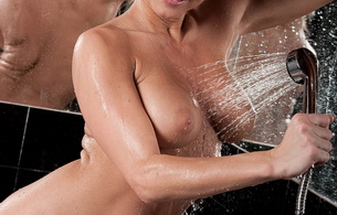 wet, smile, nude, boobs, shower