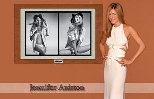 jennifer aniston, actress, smile, blonde, lingerie, hat